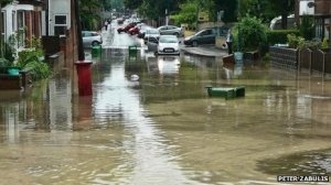 Photo shows the impact of recent surface water flooding in Nottingham in July 2013 (BBC News)