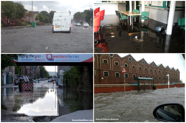 Flooding impacts in Glasgow and Greenock on 25th July 2013 Clockwise from top left a) London Road (BBC News), b) Bookies in Greenock (STV News), c) East Hamilton Street (STV News) , d) Broughton Road (BBC News)