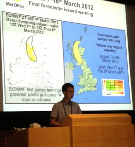 Rob Neal presenting ensemble-based first guess warnings in support of the risk-based UK National Severe Weather Warning Service.