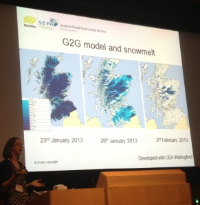 Linda Speight presenting on the role of the forecaster in Scotland.