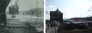 Flooding on the promenade in Oban during the 1960's.  A new coastal flood forecasting system has been developed to forecast surge and wave conditions that may lead to flooding. Images courtesy of Richard Brown (Head of Hydrology, SEPA)