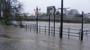 "Flooding on the Nith in Dumfries during December.  Environment Minister, Paul Wheelhouse: ""I was extremely impressed by how well prepared all the authorities were - aided by the timely and accurate flood forecasts from the Scottish Flood Forecasting Service (Source: BBC)."