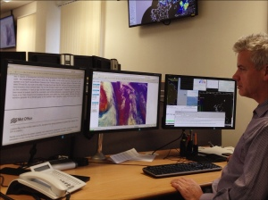 One of the operational meteorologists providing support for the daily production of the flood guidance statement in Scotland.