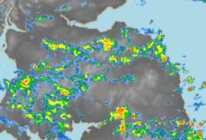 Radar image of rainfall on 10/5/14