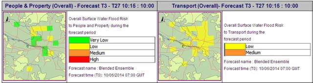 Model output showing the overall surface water flood risk to People & Property and Transport on 10th June