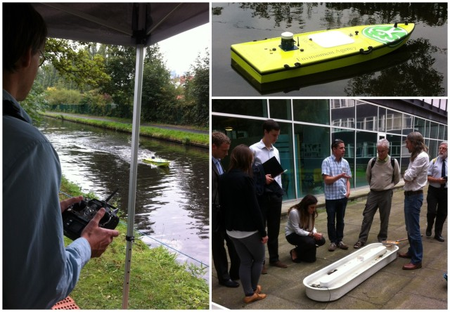 Conference delegates testing out the EA remote controlled ARC-boats for river gauging and learning about Birmingham Universitiy's recirculation stream systems