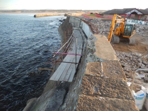 Ongoing repairs to Lossiemouth's seawall. Taken 10 March 2014. (c) Darroch Kaye