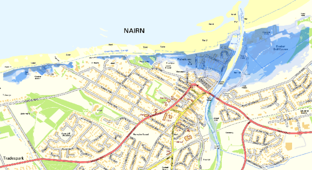 Modelled flood inundation from wave overtopping at Nairn, utilising JFlow modelling software.
