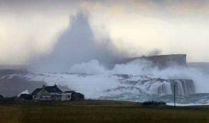 The island of Stenness in Shetland faces the brunt of the significant Atlantic waves in the december storm (source: Express.co.uk)