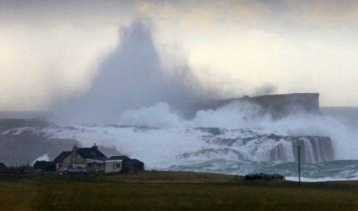 The island of Stenness in Shetland faces the brunt of the significant Atlantic waves (source: Express.co.uk)