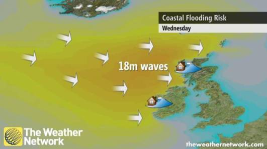 The Weather Network joining in the media interest with their infographic for the coastal flood risk on Wednesday 10th December.  SEPA issued Flood Alerts for coastal flood risk for the coastline from Dumfries and Galloway up to the Shetland Islands.