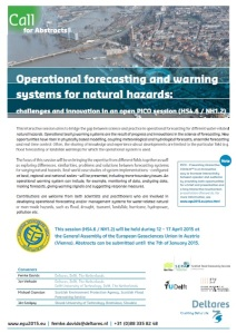 PICO session on operational forecasting and warning systems for natural hazards: challenges and innovation (HS4.6/NH1.2)