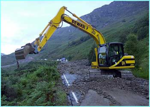 The Norwegian Water Resources and Energy Directorate (NVE) have developed a combined early warning system for flooding and landslide risk. (Picture: Glen Ogle landslides - source bbc.co.uk)