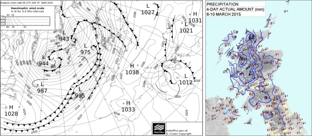 Fig 2 (left). Analysis chart for 0600UTC on Saturday 07th March 2015.  Fig 3 (right). 4-day total precipitation amount from 6th to 10th March 2015