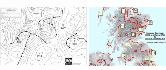 Fig 6 (left). Analysis charts for 26th  January 2003. Fig 7 (right). Maximum air temperature between 0900UTC on 26 January 2003 and 0900UTC on 27 January 2003