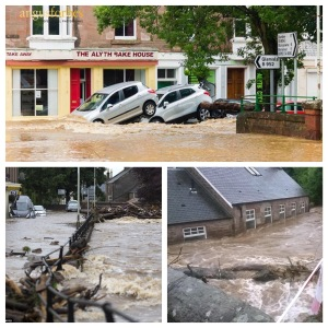 Figure 1: Flooding impacts in Alyth.  Clockwise from the top: Cars swept along Commercial Street in Alyth (source: Angus Forbes Photography); flood waters into properties (source: Michelle Macleod); and debris and damage caused by the Alyth Burn (source: Perthshire Picture Agency)