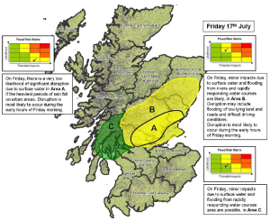 Figure 4: The Flood Guidance Statement area of concern map issued to emergency responders on the 16th July.
